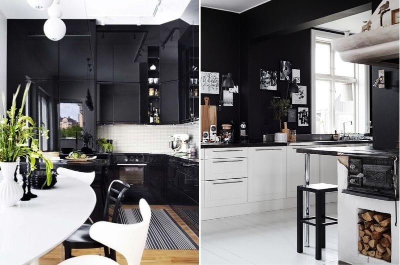 Musta keittiön sisustus