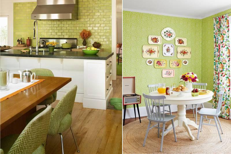 Pisztácia fali színe a konyhában