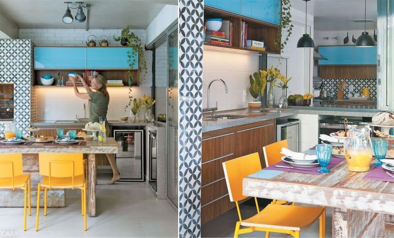 Blå og gul i kjøkkenets indre
