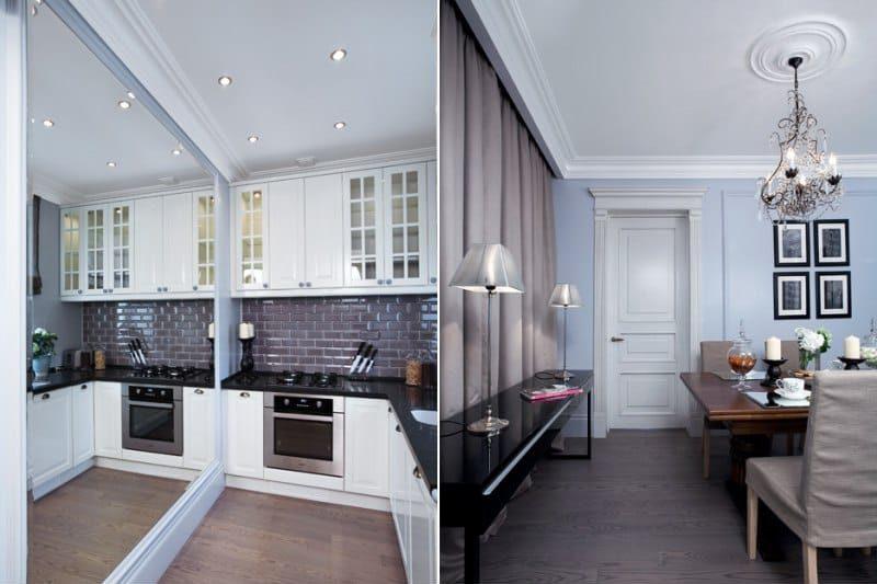 פנים חדר האוכל - מטבח עם קירות אפורים