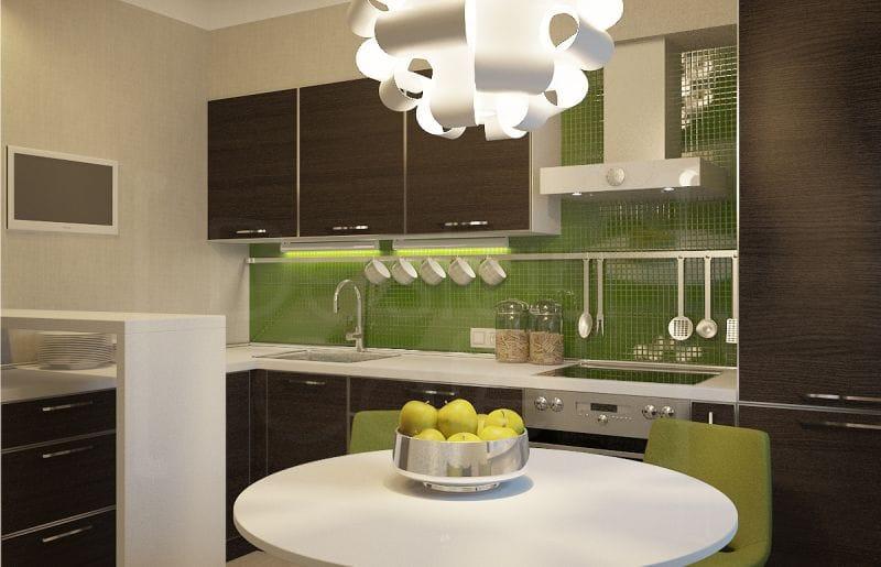 Barna konyha zöld kötény és dekoráció