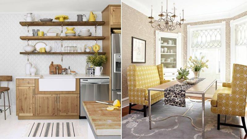 Brun og gul i kjøkkenets indre