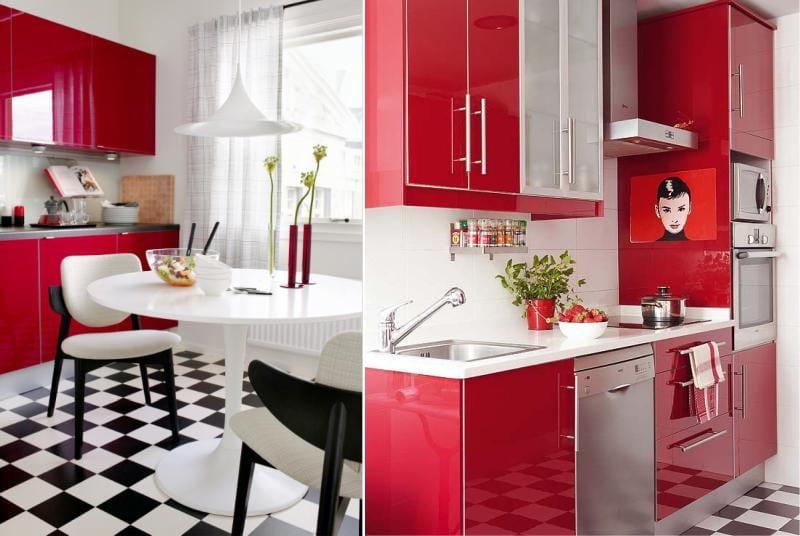 Punainen ja musta väri keittiön sisätiloissa