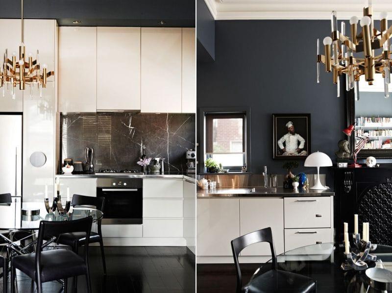 Keittiö, jossa on mustat seinät, lattia, esiliina ja tuolit