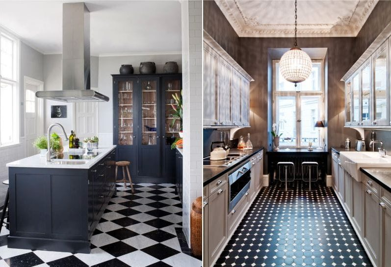 Keittiö, jossa on musta ja valkoinen lattia