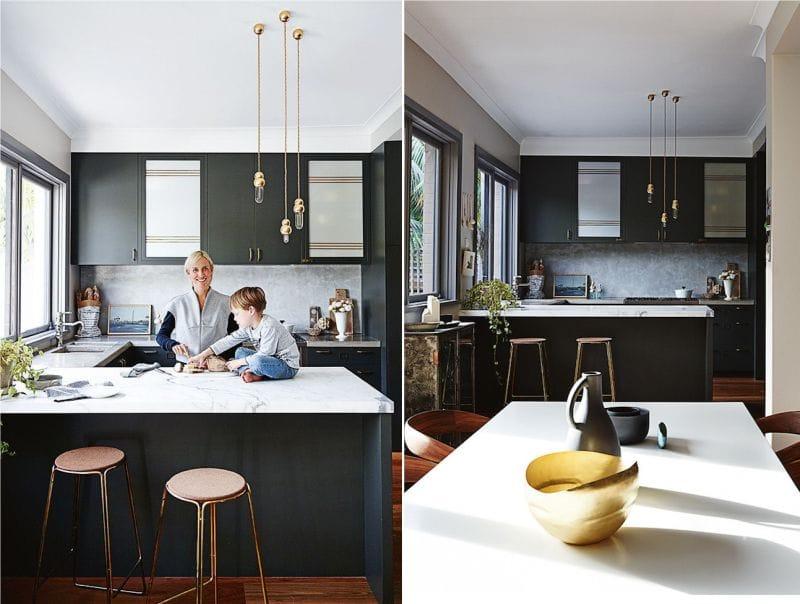 Pieni mustavalkoinen keittiö nykyaikaiseen tyyliin