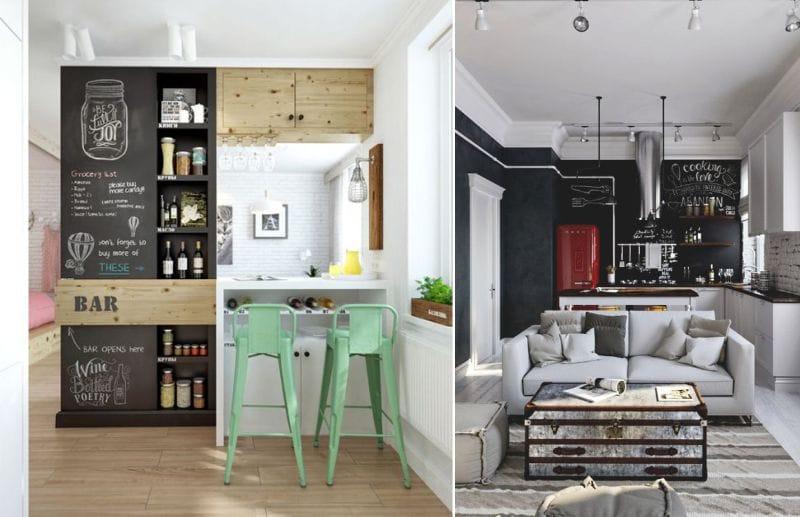 Chalky taustakuva sisätiloissa mustavalkoinen keittiö