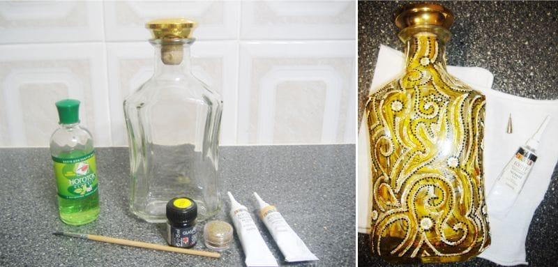 צביעת בקבוקים קווי המתאר לעשות זאת בעצמך