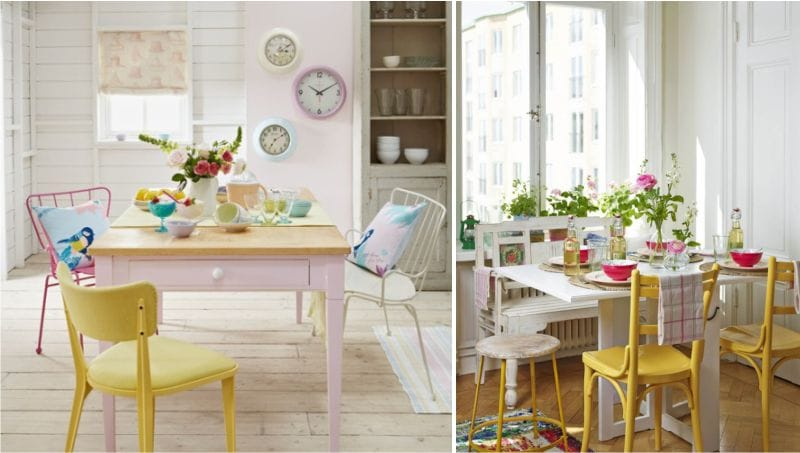 Rosa og gul i kjøkkenets indre