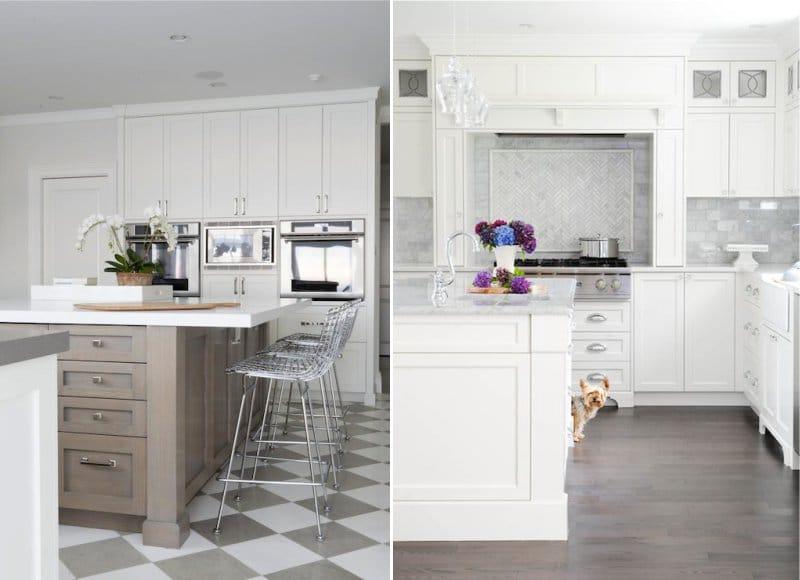 רצפות אפורות בפנים המטבח