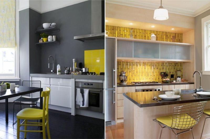Grå og gul farge i kjøkkenets indre