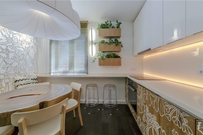 Skinali illuminé à l'intérieur de la cuisine