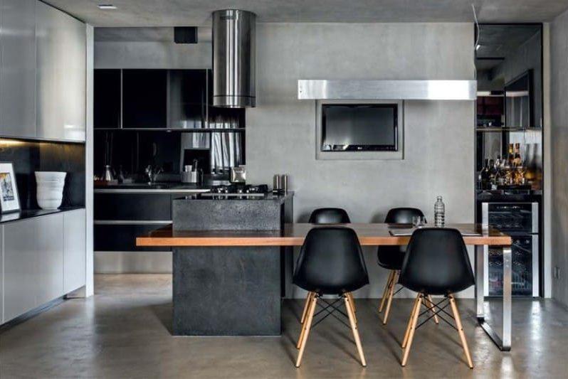 Musta ja harmaa yhdistelmä keittiön sisätiloissa