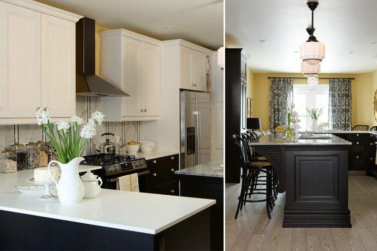 Kombinasjonen av gul og svart i kjøkkenets indre