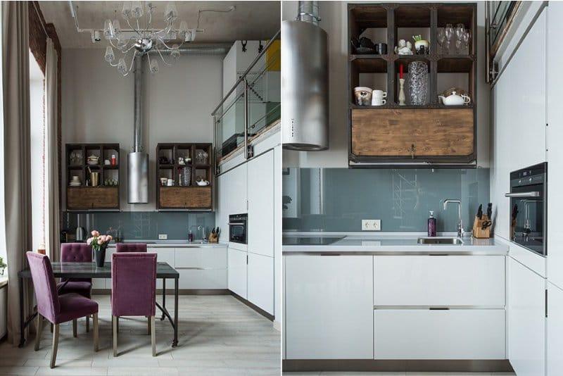 Tablier en verre à l'intérieur d'une cuisine de style loft