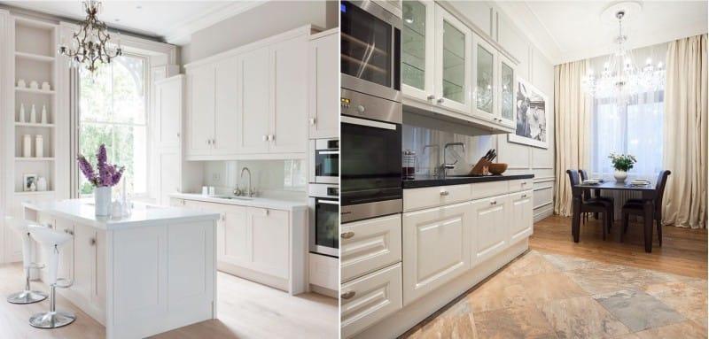 Tablier en verre à l'intérieur de la cuisine dans le style néoclassique