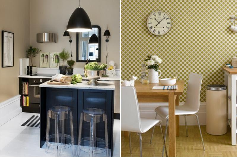 A konyhában a falak olíva színűek