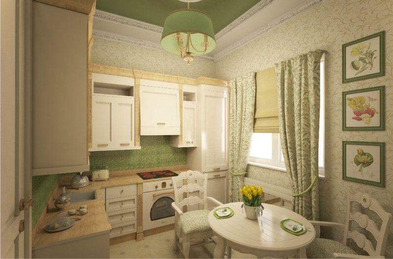 Világos zöld háttérkép a konyha belsejében