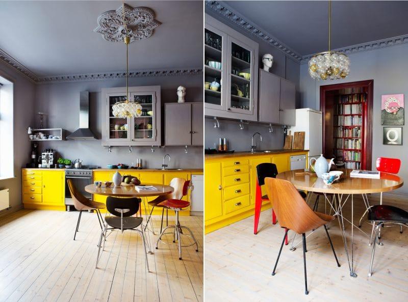 Mørkegrå og gul farge i kjøkkenets indre