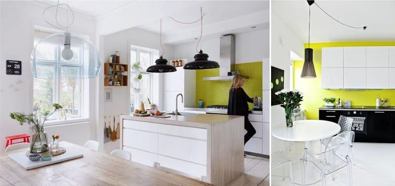 Világos zöld falak a konyhában