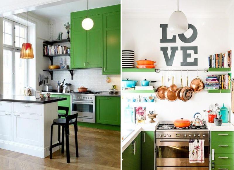 Zöld konyha és fehér falak
