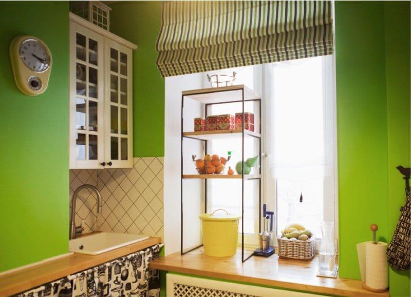 Zöld konyha a belső térben