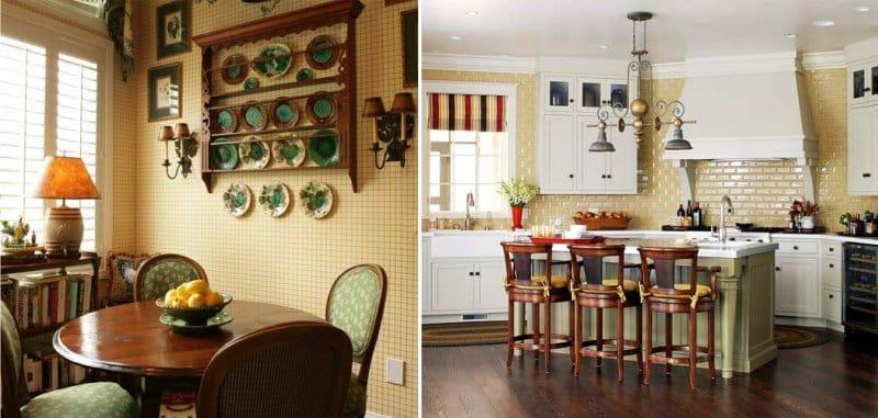 Grønn og gul i interiøret i et klassisk kjøkken