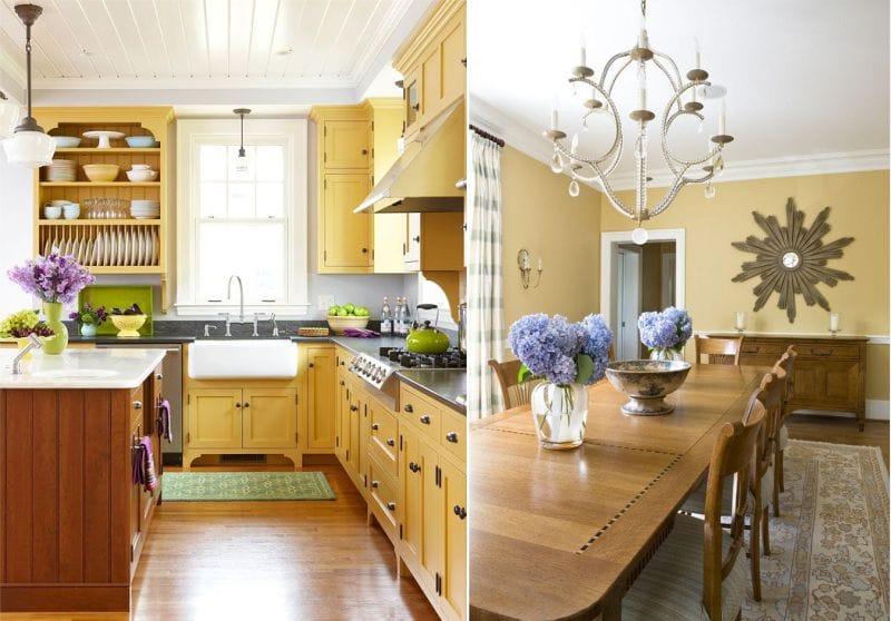 Gult kjøkken og spisestue i klassisk stil