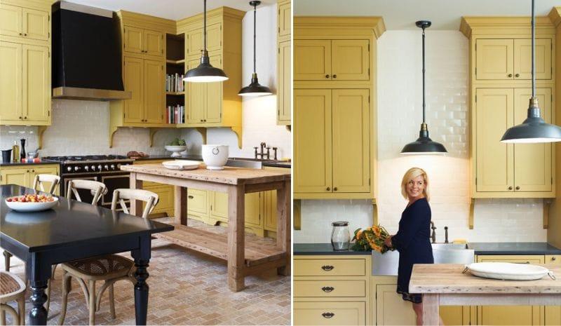 Klassisk gul og hvit kjøkken