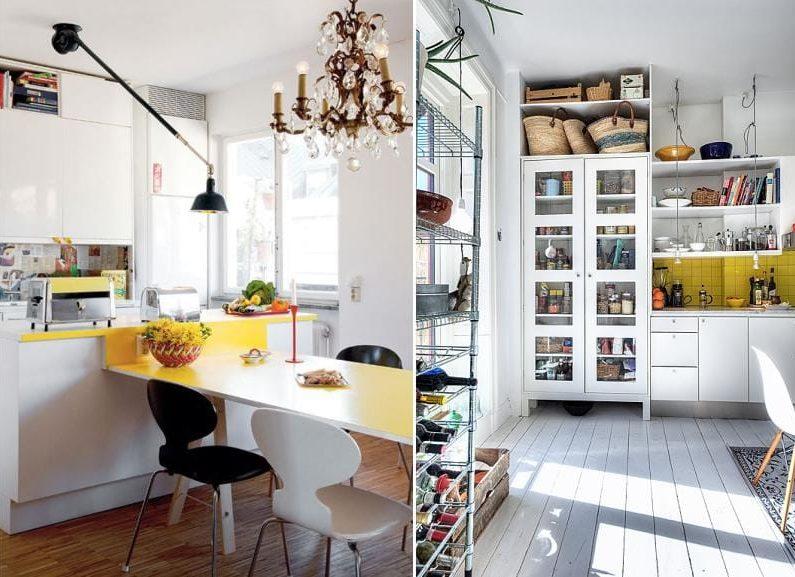 Gult aksenter i hvitt kjøkkeninnredning