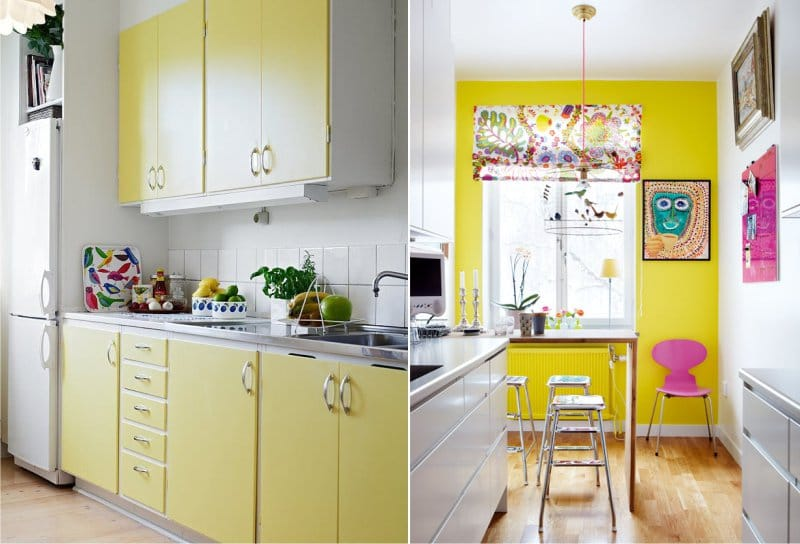 Gul farge i kjøkkenets indre