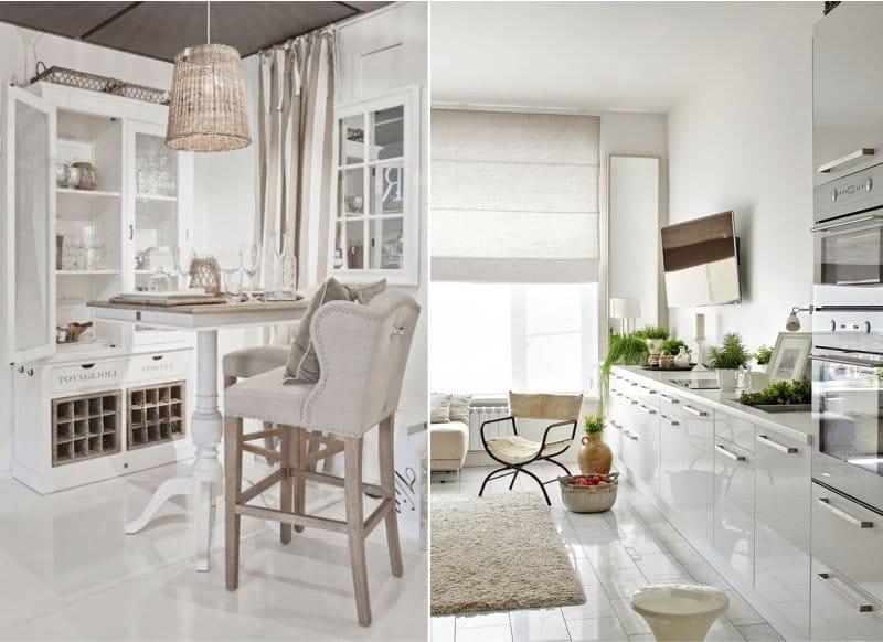 Fehér és bézs a konyha belsejében