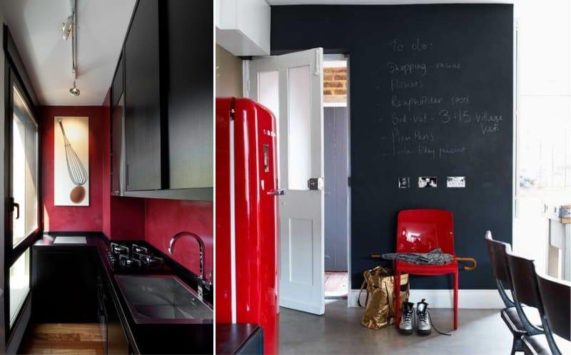 Fekete és piros konyha