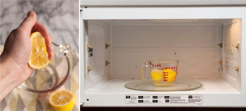 ניקוי המיקרוגל עם מיץ לימון