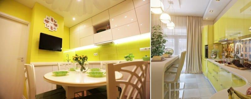 Fényes sárga bézs konyha