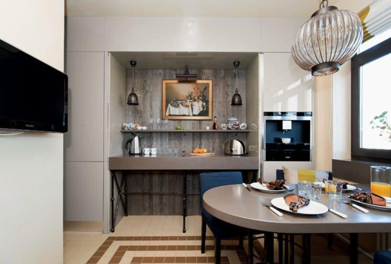 Barna és bézs konyha modern stílusban