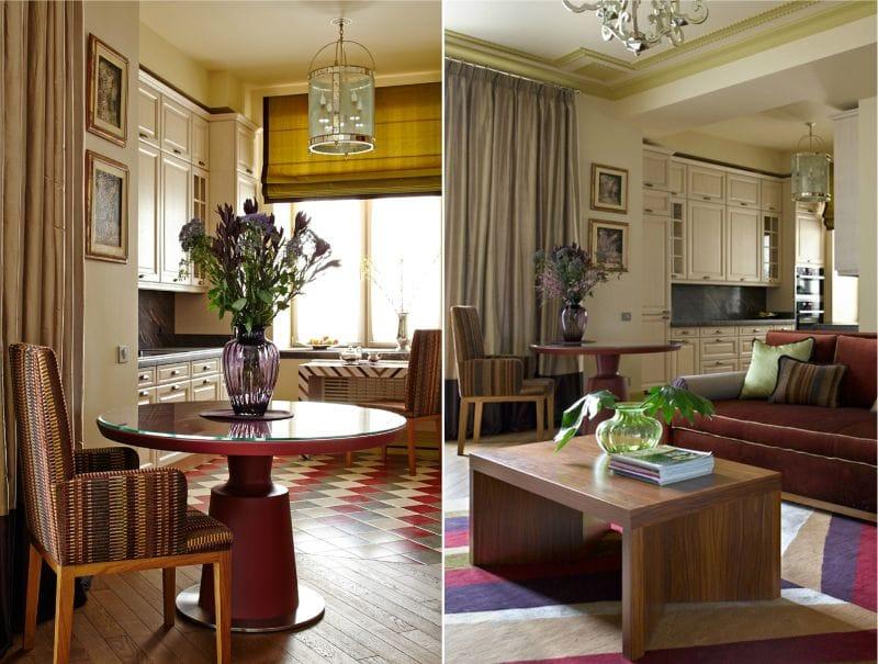 Vörös és bézs konyha-nappali