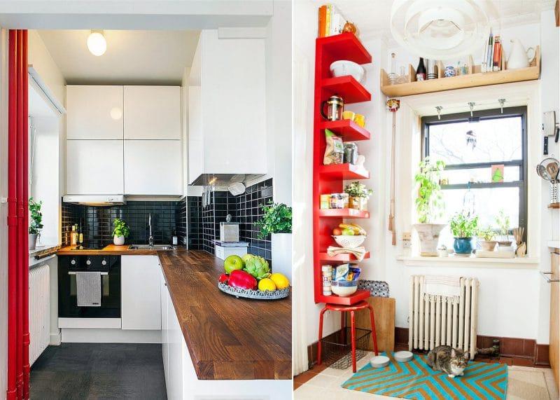 Piros akcentus egy kis konyha belsejében