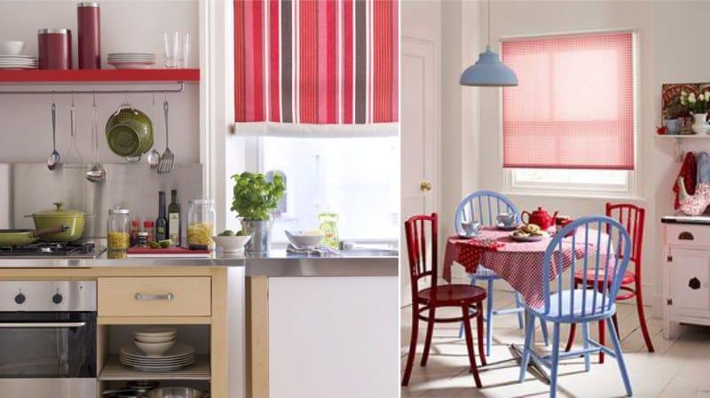 Piros függönyök a konyhában