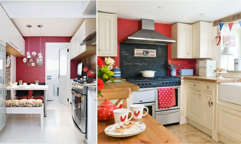Vörös falak a konyha belsejében