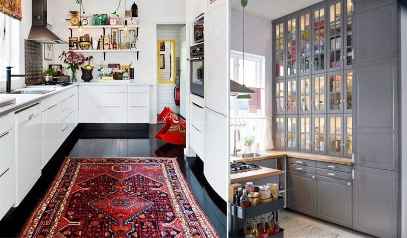 ห้องครัวที่ไม่มีตู้ด้านบนพร้อมตู้คอลัมน์