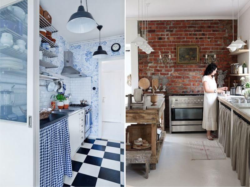 ห้องครัวที่ไม่มีตู้ด้านบนในสไตล์ Provence และ Country