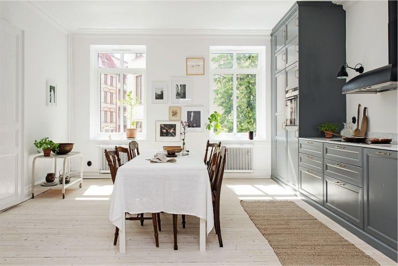Egyszintű konyha lineáris elrendezése