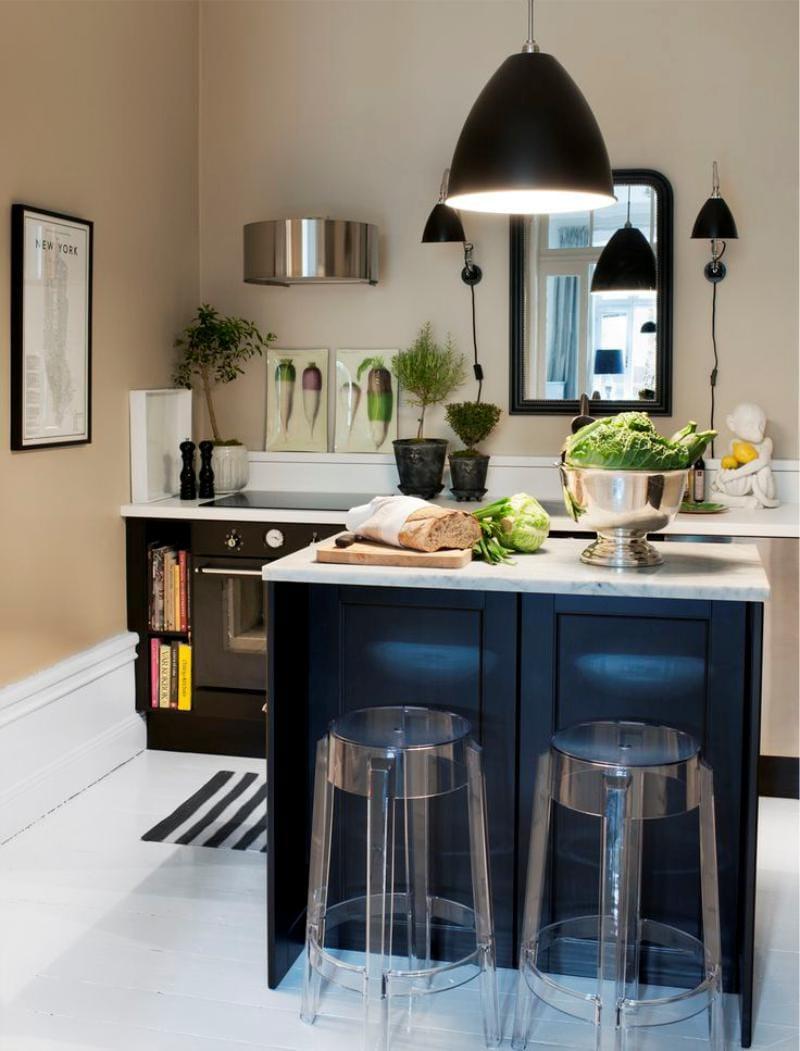 Sziget konyha elrendezése felső szekrények nélkül