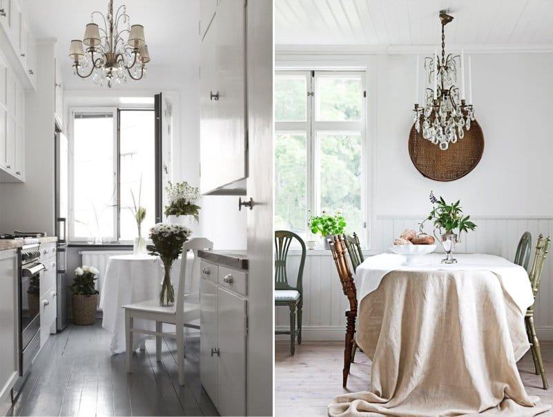 Soikeat pöydät, joissa on suorakulmaiset pöytäliinat