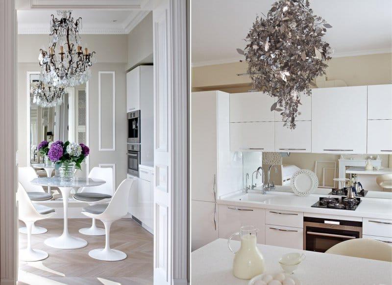 Hideg és meleg bézs falak a konyha belsejében