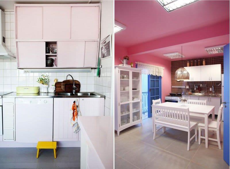 Fehér-rózsaszín konyha a belső térben