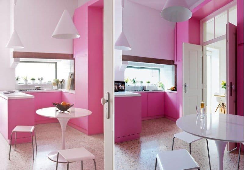 Fehér és rózsaszín konyha modern stílusban