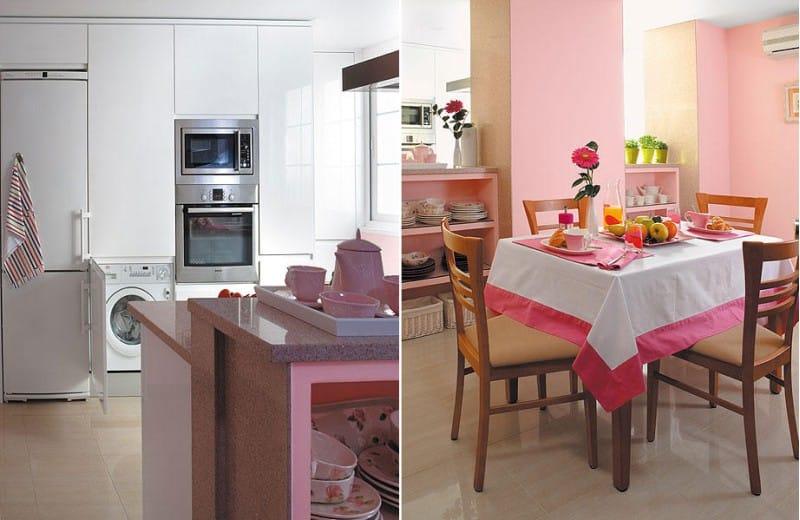 Fehér és rózsaszín konyha