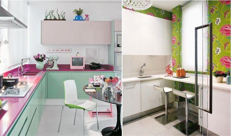 Rózsaszín és zöld kombinációja a konyha belsejében